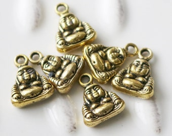 Set of 15, Tiny Buddha, Tiny Buddha Charm, Buddha Pendant, Small Buddha Pendant, Small Charms, Dainty Charms, Buddha Charm