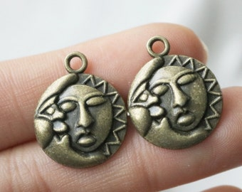Set of 4, Moon Sun Charms, Bronze Charms, Moon Charm, Sun Charm, Opposites Attract, Bronze Jewelry Charm,