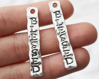 Set of 10, Blessed Charm, Word Charm, Very Blessed, Metal Charm, Silver Charm, Metal Pendant, Jewelry Pendant, Jewelry Charm,