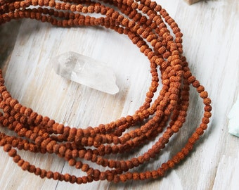 4mm Rudraksha Beads, Natural Beads, Brown Beads, Wood Beads, Natural Wood Beads, Seed Beads, Natural Seed Bead, Mala Beads,
