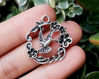 set of 5, hummingbird pendant, silver pendants, metal charms, 25mm x 25mm, flower and bird