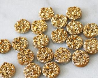 set of 20, faux druzy cabochon, gold druzy, resin cabochon, round cabochon, 12mm × 12mm, 12mm cabochon, metallic druzy