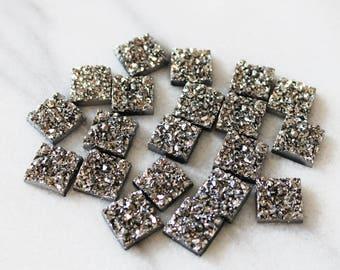 set of 20, faux druzy cabochon, metallic silver, resin cabochon, square cabochon, 12mm × 12mm, 12mm cabochon,