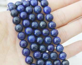 Lapis Lazuli, 8mm Round, Blue Beads, Full Strand