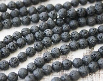 8mm Black Lava, volcano rock, Gemstone Round, Full Strand, Natural Gemstone, Beads Rustic