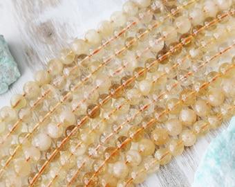 8mm Citrine, Citrine Beads, Yellow Beads, Natural Citrine, Natural Gemstone, Full Strand,