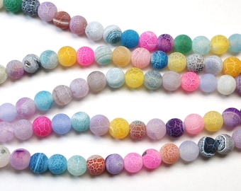 2fcb8e6da natural cracked agate, 6mm, round, matte, 1 strand, 16 inches, approx. 66  beads.