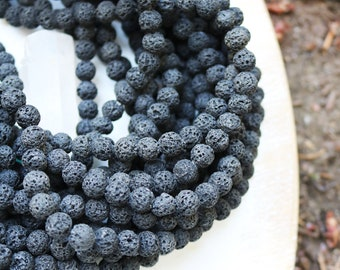8mm black lava, round lava beads, natural unwaxed lava, full strand, 15''-16'', approx. 48 beads.