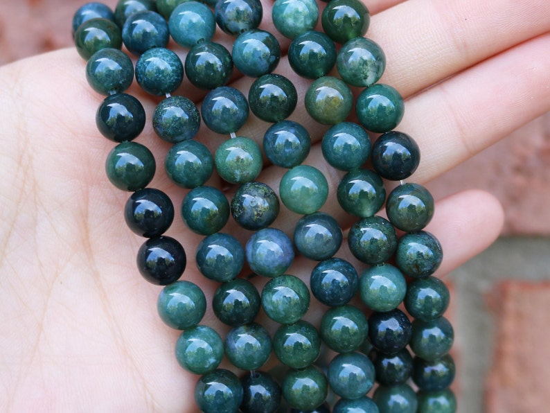 moss agate 8mm round gemstone beads natural beads full image 0