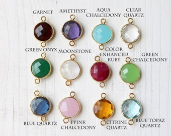 Set of 12 20mm Gemstone Gold Bezel Connector Birthstone Set High End Jewelry Making Gold Plated Sterling Silver GE067