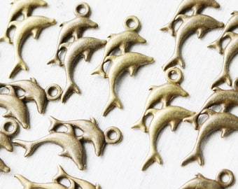 Set of 10, Double Dolphin, Dolphin Charm, Dolphin Mom Child, Mom Child Charms, Sea Charms, Ocean Charms, Antique Bronze