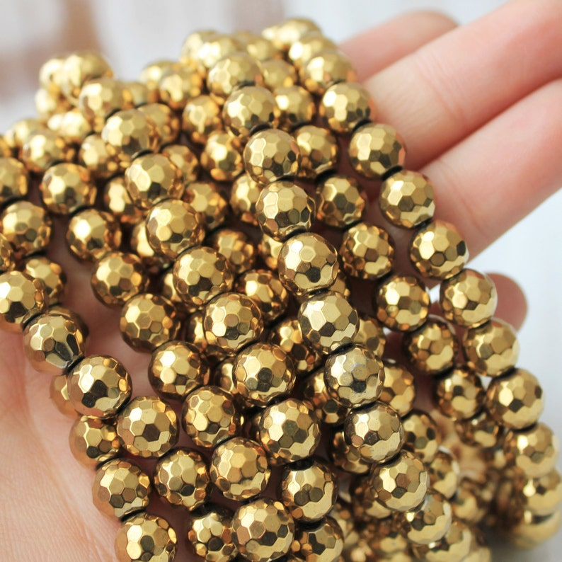 8mm gold hematite faceted beads gemstone beads gold beads image 0