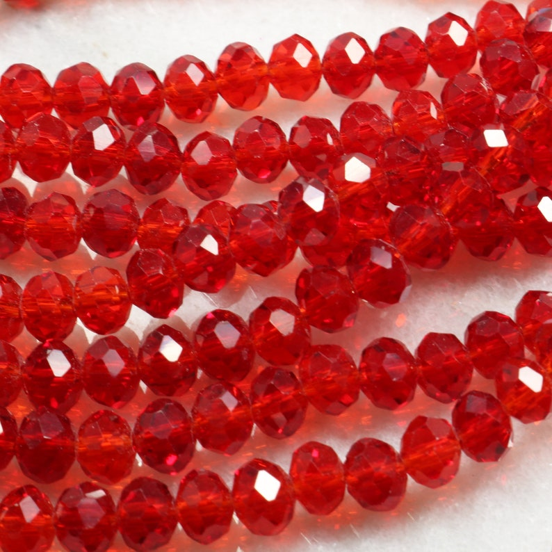100 x 6mm Light Coral Crystal Glass Faceted Beads Rondelle