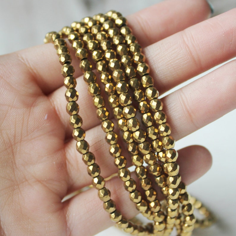 3mm Beads Gold Plated Hematite Faceted Hematite Gemstone image 0