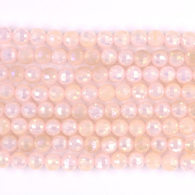 milky pink crystal beads 8mm faceted round 1 strand 14 image 0
