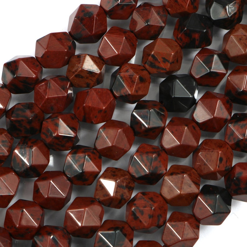 mahogany obsidian 8mm diamond faceted 1 strand 16 inches image 0