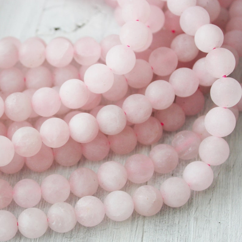 8mm Frosted Rose Quartz A Quality Gemstones Pink Stone image 0