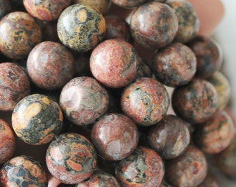 Red Leopardskin Jasper, 8mm Beads, Round Beads, Jaguar Stone, round gemstone, Red Beads, full strand, natural Gemstone,