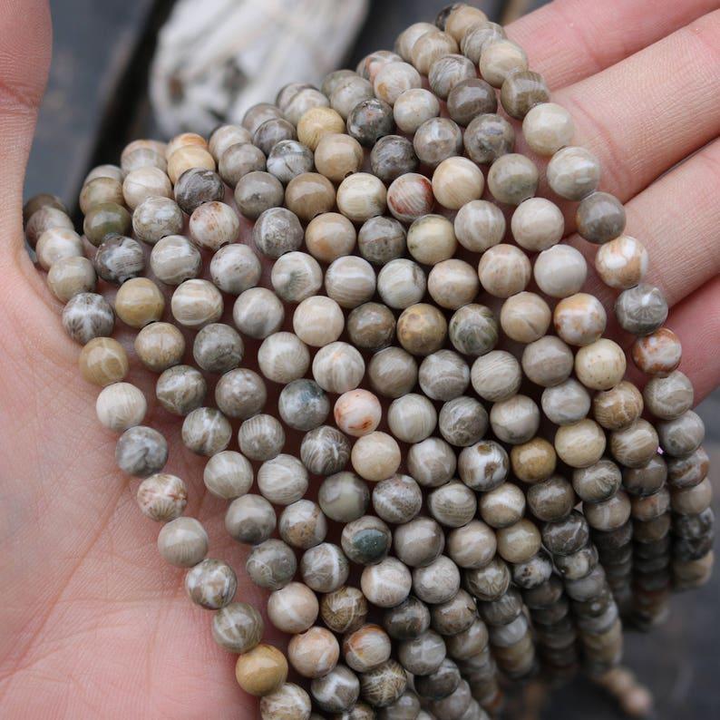 ocean fossil jasper 6mm beads round beads glossy beads image 0
