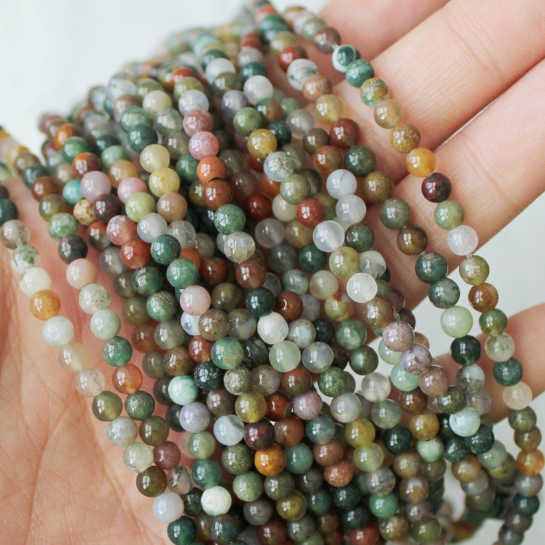 fancy jasper 4mm round natural gemstones full strand image 0