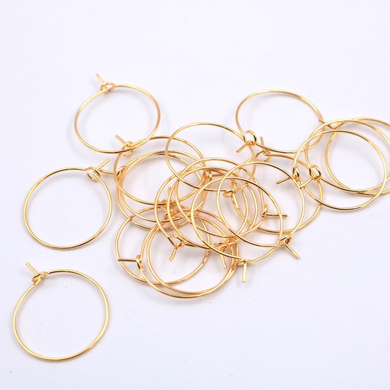 earring hoops 24k gold plated brass 20mm x20mm 20 pieces. image 0