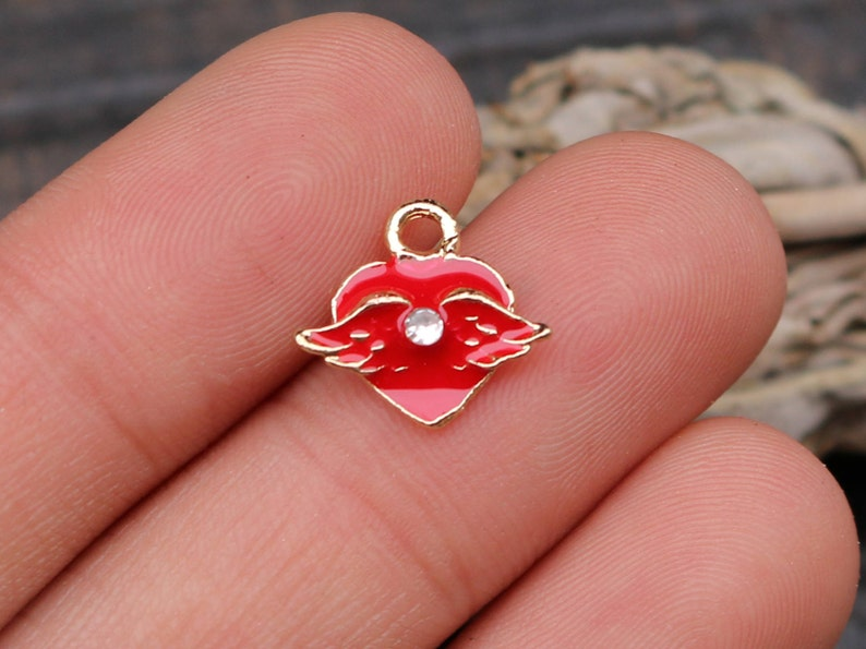 set of 5 red heart charms metal charms rhinestone enamel image 0