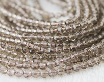 4MM Smoky Quartz Faceted Gemstone Natural Gemstone Yoga Jewelry Supply Smoky Clear Beads