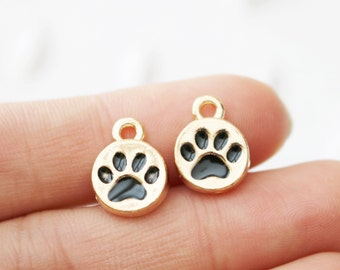 Set of 4, Dog Paw, Paw Charm, Dog Lovers, Dog Charm Gift, Dog Gift, Animal Lovers, Paw Friends, Mans Best Friend, Gold Paw Charm,