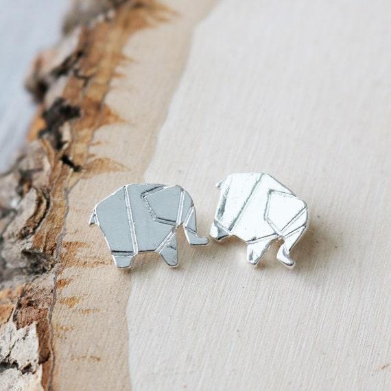 Set Of 2 Silver Elephant Origami Charm Elephant Charms Etsy
