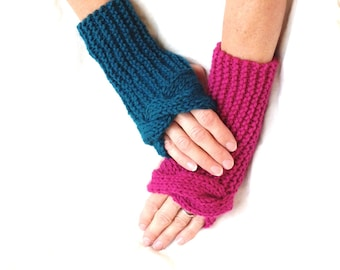 Knit fingerless gloves, wrist warmers mismatched, texting mitts, pink teal device gloves, twisted arm warmers, hand knit item, gift for her