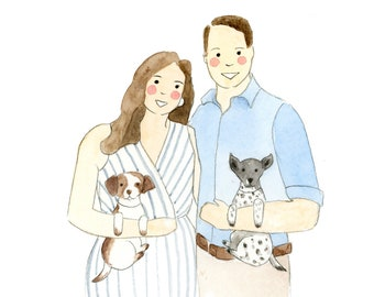 Custom Watercolor Portrait Print |  Cute Style Family Painting | Illustrated Portrait | Couple Art Print | Wedding Gift | Anniversary Gift