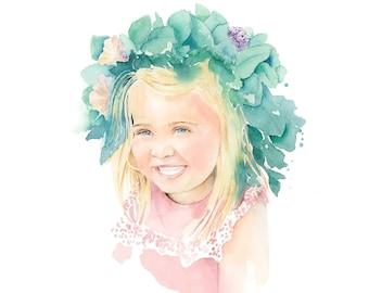 Handpainted Children Portrait in Watercolor | Custom Painting in Watercolour | Family Portrait | Kid Portrait