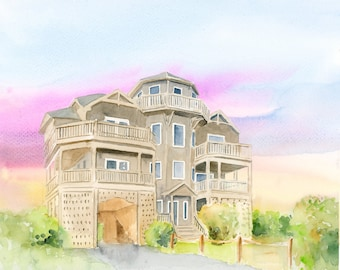 House Portrait in Watercolor | Original House Painting | Housewarming Gift | Custom Home Portrait |  Home Decor Gift | Handpainted