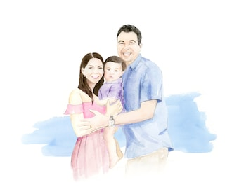 Family Portrait in Pencil and Watercolor | Cute Style Family Portrait | Custom Family Painting | Anniversary Gift | Handpainted