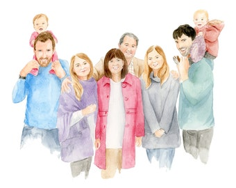 Family Portrait in Watercolor | Family Portrait in Pencil and Watercolor | Portrait From Combined Photos | Handpainted
