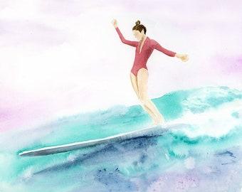 Custom Surfing Portrait | Watercolor Surfing Painting | Handpainted Surf Art | Surf Illustration | Surfer Portrait | Surf Gift | Surf Decor