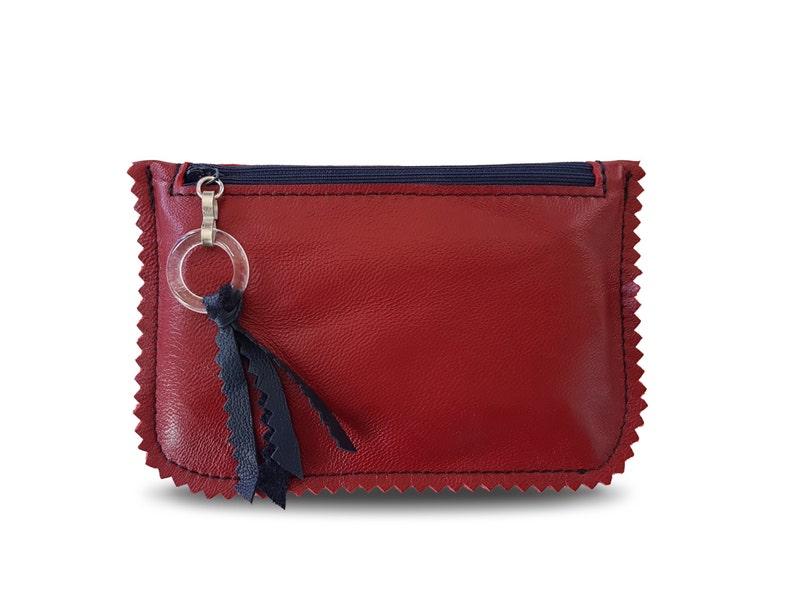 529e780022b6d9 Rotes Kartenetui kleiner Geldbeutel aus Italienischem Leder   Etsy