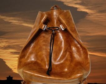 Leather Backpack with drawstring, Cognac Brown, hobo bag, handbag, shopper, ladies bag, city bag, leather Accessories,