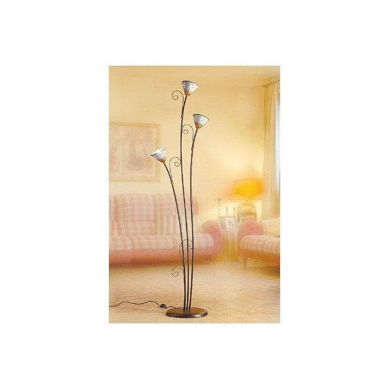 competitive price 183a6 e765d 3-light wrought iron floor lamp with perforated plates and decorated rustic  vintage style-H 183 cm