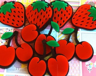 6 fruits, two layers, 2 strawberries, cherries and 2 watermelon, for maxi earrings (50mm)