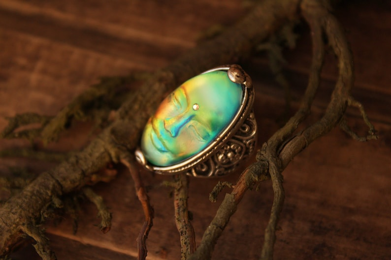 Dainty rings for women Silver plated magic art deco ring Unusual resin jewelry witch jewelry