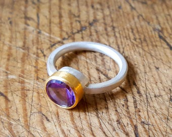 Amethyst 22k gold and silver ring