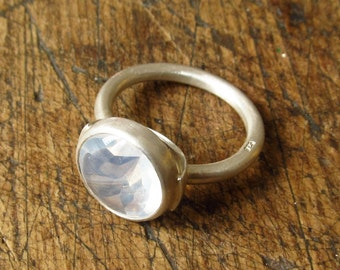 pale Opal ring in silver setting