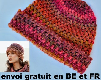 Multicolored crochet women CAP, wool and acrylic, hand made, accessory fall winter hat, Christmas present birthday Valentine