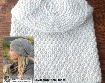 2fda1c5a35c1 Bonnet slouchy femme laine et alpaga écru tricoté main point de blé