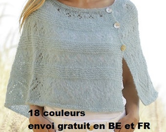 Knitted poncho hand for woman, alpaca, silk, mother's day gift, anniversary, heats shoulders, shawl, free dispatch Belgium France