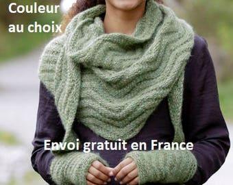 Châle et ou manchettes alpaga laine tricoté main, point zig-zag, accessoire  femme automne hiver, écharpe, mitaines, cadeau Noël anniversaire 24b095c0138