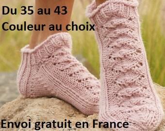 Chaussons laine et alpaga femme tricotés main, chaussettes courtes socquettes dentelle pantoufles, couleur au choix accessoire automne hiver