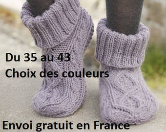 Wool and alpaca women men knitted hand, color choice, slippers accessory fall winter Slipper Socks, birthday gift