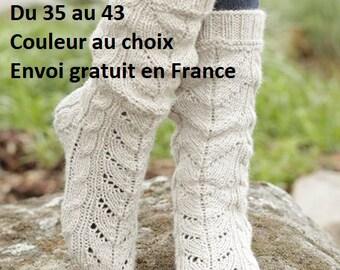 Socks wool and alpaca hand knit women accessory fall winter openwork stitch socks, slippers, slippers, winter